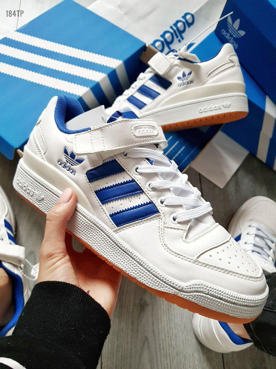 Мужские кроссовки Adidas forum mіd White Blue