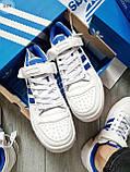 Мужские кроссовки Adidas forum mіd White Blue, фото 2