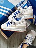 Мужские кроссовки Adidas forum mіd White Blue, фото 3