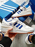 Мужские кроссовки Adidas forum mіd White Blue, фото 5