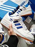 Мужские кроссовки Adidas forum mіd White Blue, фото 7