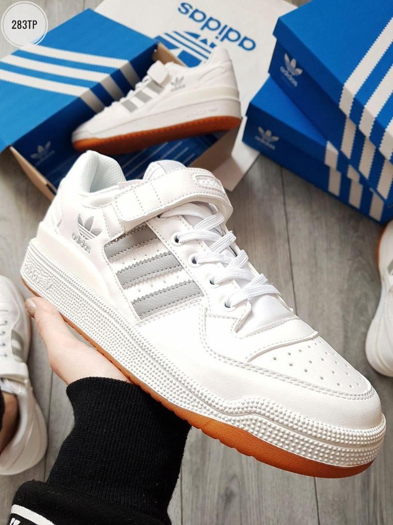 Мужские кроссовки Adidas forum mіd White/Silver