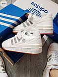 Мужские кроссовки Adidas forum mіd White/Silver, фото 4