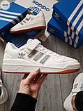 Мужские кроссовки Adidas forum mіd White/Silver, фото 6