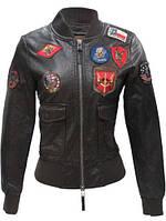 Женский бомбер Top Gun Women's Vegan Leather Bomber Jacket TGJ1680 (Brown), фото 1