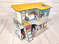 Двухэтажный пляжный домик для кукол с мебелью и текстилем, фото 1