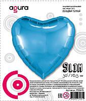 Фольгированный шар 30' Agura (Агура) Сердце холодный голубой в упаковке, 76,5 см