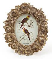 """Фоторамка Tudor """"Розы"""" овальная, фото 6.4х9см (цвета состаренного золота)"""