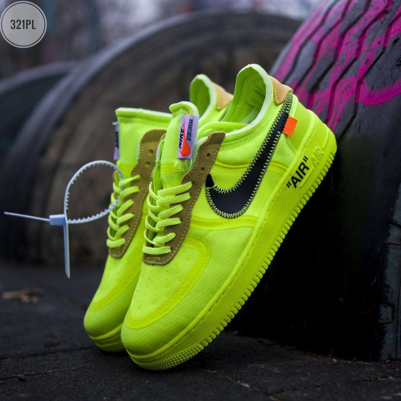 Мужские кроссовки Nike Air Force Х Оff-Whіte green