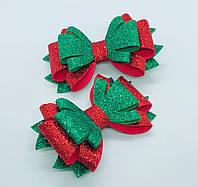 Бант для девочки красно - зелёный блестящий Заколка для девочки с бантом Заколка для волос
