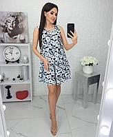 Платье легкое, нарядное, воланами р,42,44,46,48 Синий, фото 1