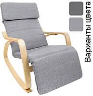 Кресло качалка с подставкой для ног Vecotti Oscar серое (крісло гойдалка з підставкою для ніг сіре), фото 1