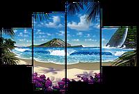 Модульная картина Вид на океан с горой 126*85 см Код: W392M