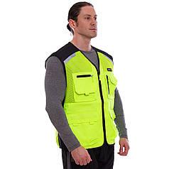 Світловідбиваючий Жилет з кишенею MS-1223 для прогулянок і тренувань у темний час доби (на блискавці,