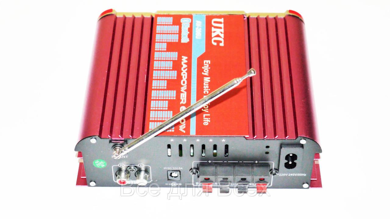 Купить Усилители звука, Усилитель звука UKC AV-206U USB/SD/FM/MP3 Bluetooth Караоке 300W+300W