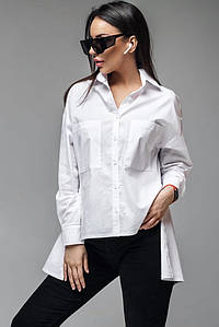 Женская белая летняя рубашка асимметричного кроя