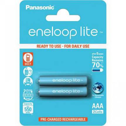 Аккумуляторы ААА, 550 mAh, Panasonic Eneloop Lite, 2 шт, 1.2V, Blister, ресурс - 3000 циклов заряда! (BK-4LCCE/2BE), фото 2