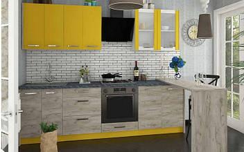 Кухня ШАРЛОТТА 2,6 м зі столом (дуб крафт сірий/жовтий) СОКМЕ