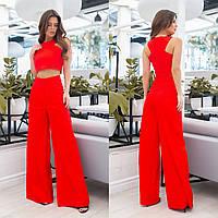 Стильний жіночий червоний літній костюм-двійка: топ і розкльошені брюки (р. 42-46). Арт-3504/13