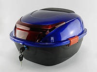 Кофр багажник пластиковый с шлемом синий