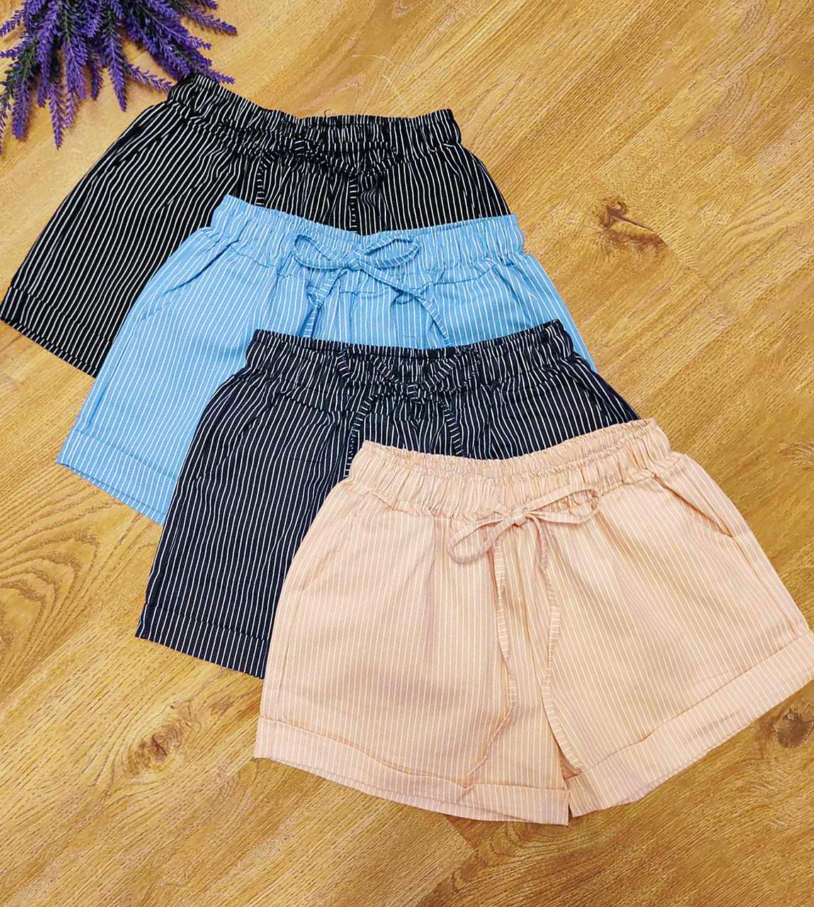 Котоновые короткие шорты в мелкую полосочку (46-48 в расцветках)