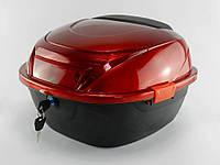 Кофр багажник пластиковый с шлемом красный