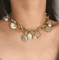 """Ожерелье чокер с подвесками """"Монетка"""""""