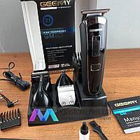 Триммер с насадками Geemy GM 801 Беспроводная аккумуляторная машинка для стрижки волос и бороды 5 в 1