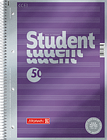 Тетрадь колледж-блок Brunnen А4 на спирали нотная 50 листов 90 г/м2 обложка сиреневый металлик