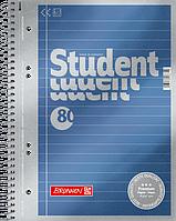Тетрадь колледж-блок Brunnen А5 на спирали в линейку 80 листов 90 г/м2 обложка синий металлик