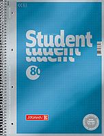 Тетрадь колледж-блок Brunnen А4 на спирали в точку 80 листов 90 г/м2 обложка голубой металлик