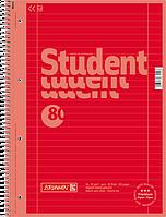 Тетрадь колледж-блок Brunnen А4 на спирали в линейку 80 листов 90 г/м2 Colour Code обложка красная