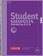 Тетрадь колледж-блок Brunnen А4 на спирали в линейку 80 листов 90 г/м2 Colour Code обложка сиреневая