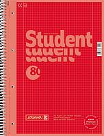 Тетрадь колледж-блок Brunnen А4 на спирали в клетку 80 листов 90 г/м2 Colour Code обложка красная