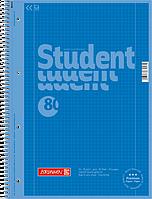 Тетрадь колледж-блок Brunnen А4 на спирали в клетку 80 листов 90 г/м2 Colour Code обложка голубая