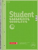 Тетрадь колледж-блок Brunnen А4 на спирали в клетку 80 листов 90 г/м2 Colour Code обложка киви