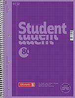 Тетрадь колледж-блок Brunnen А4 на спирали в клетку 80 листов 90 г/м2 Colour Code обложка сиреневая