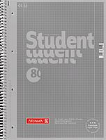 Тетрадь колледж-блок Brunnen А4 на спирали в клетку 80 листов 90 г/м2 Colour Code обложка серая