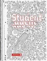 Тетрадь колледж-блок Brunnen А4 на спирали в линейку 80 листов 90 г/м2 обложка ZENart попугай