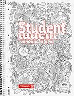 Тетрадь колледж-блок Brunnen А4 на спирали в линейку 80 листов 90 г/м2 обложка ZENart цветы