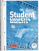 Тетрадь колледж-блок Brunnen А4 на спирали в линейку 80 листов 90 г/м2 обложка Джинсы