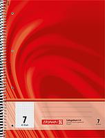 Тетрадь колледж-блок Brunnen А4 на спирали в клетку 80 листов 90 г/м2 обложка красная