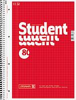 Тетрадь колледж-блок Brunnen А4 на спирали в клетку 80 листов 70 г/м2 обложка красная