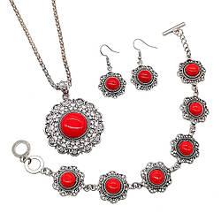 Набір SONATA (підвіска на ланцюжку, сережки, браслет), корал прес., 73442 (1)
