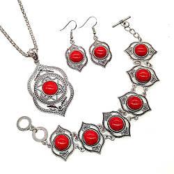 Набір SONATA (підвіска на ланцюжку, сережки, браслет), корал прес., 73425