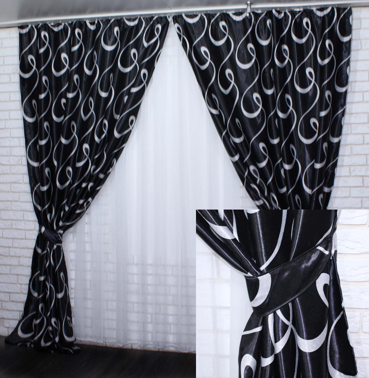 """Комплект (2шт 1.5х2.8м)  готових штор, з тканини блекаут, колекція """"Моллі"""". Колір чорний з сірим. Код 389ш(А) 30-128"""