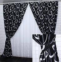 """Комплект (2шт 1.5х2.8м)  готових штор, з тканини блекаут, колекція """"Моллі"""". Колір чорний з сірим. Код 389ш(А) 30-128, фото 1"""