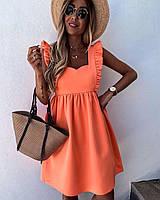 Лёгкое летнее мини платья яркие светлые цвета Цвет Белый , беж , Оранж , лимонРазмер 42-44,46-48 Ткань софт