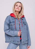 Джинсовая  женская куртка с капюшоном, фото 1