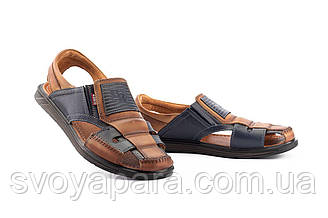 Мужские сандали кожаные летние синие-коричневые Bumer Premium 902